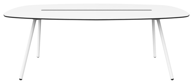Medium A-Lowha Long Board Table, White, White Frame