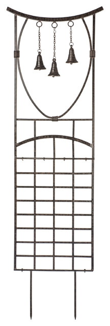 Steeple Bells Trellis, Wrought Iron, Weather Resistant Garden Yard Art.
