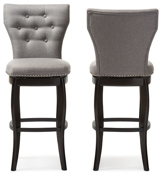 Fine Leonice Fabric Upholstered Button Tufted Swivel Bar Stools Gray Set Of 2 29 Pabps2019 Chair Design Images Pabps2019Com