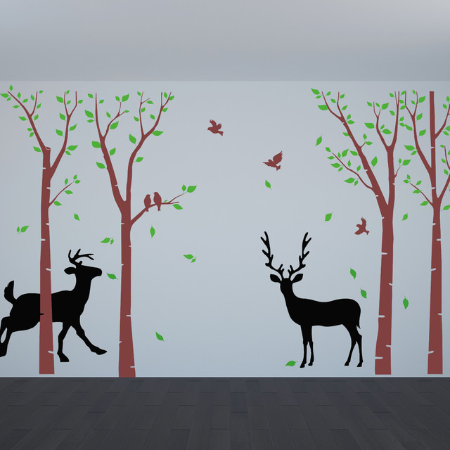 Birch tree wall decals flying birds deer wall art nature wall decal living room mediterranean