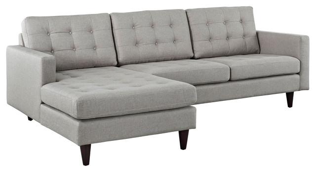 Empress Left-Facing Upholstered Fabric Sectional Sofa, Light Gray
