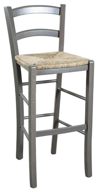 Traditional Wooden Kitchen Stool, Grey