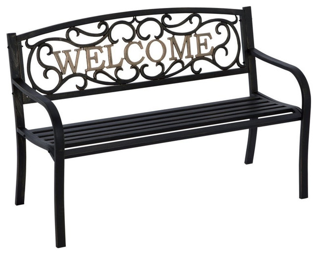 Cast Iron Welcome Park Bench Outdoor Patio Garden, Black Bronze  Mediterranean Outdoor Benches