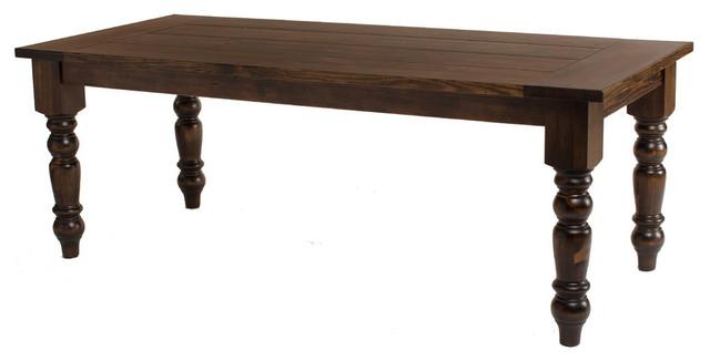 "Baluster Turned Leg Table, Dark Walnut Stain, 72""x37""."