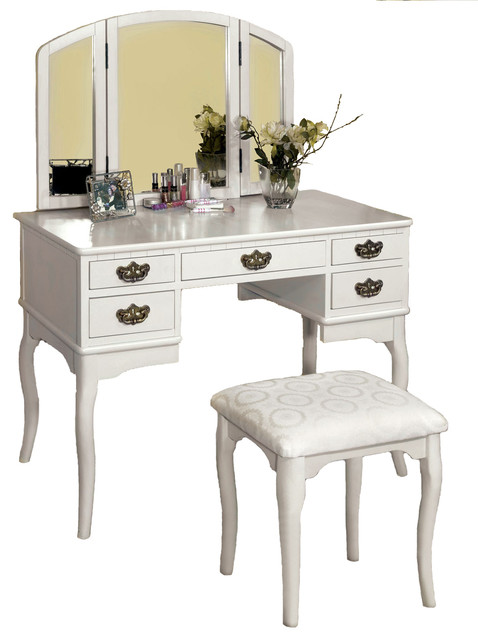 5-Drawer Make-Up Vanity, Tri-Folding Mirror, Padded Bench, 3-Piece Set, White.