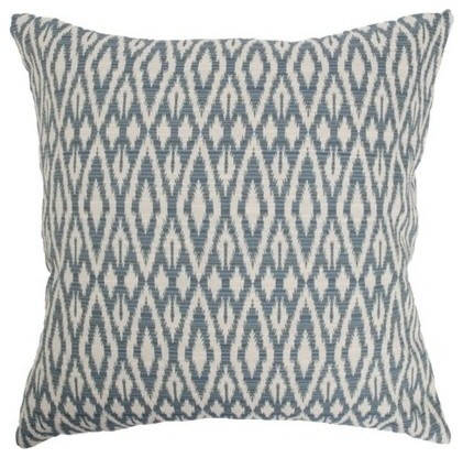 "Hafoca Ikat Pillow Denim 18""x18""."
