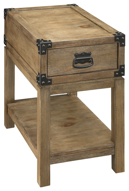1-Drawer Chairside Table, Carmel Burnished Natural.
