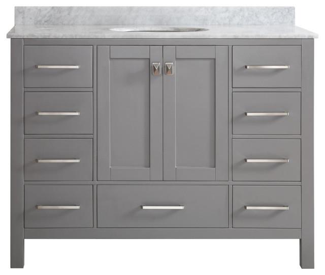 Gela 48 Single Vanity Gray Without Mirror Transitional Bathroom Vanities
