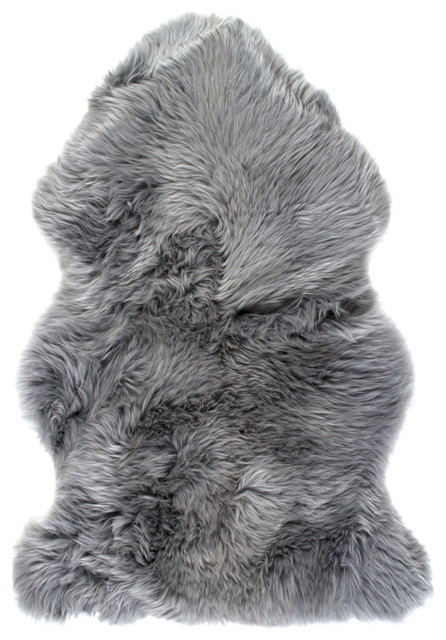 Natural 100% New Zealand Sheepskin Single, 2&x27;x3&x27; Gray.
