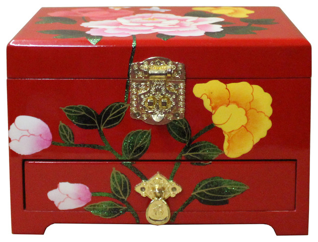 Chinese Oriental Red Lacquer Flower Mirror Jewelry Chest Box Hcs4450