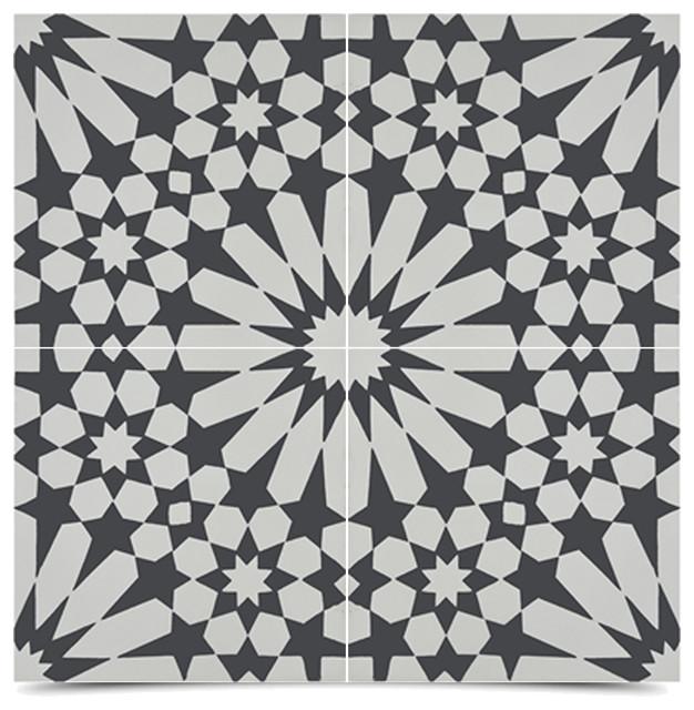 Moroccanmosaictile House Agdal Handmade Cement Tile Black