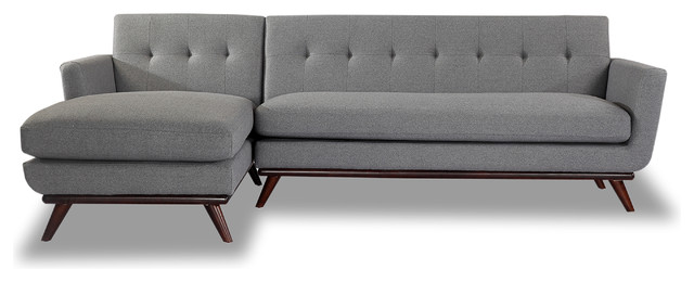 Karl Jackie Mid Century Modern Sectional Sofa Cadet Gray Material Cashmere