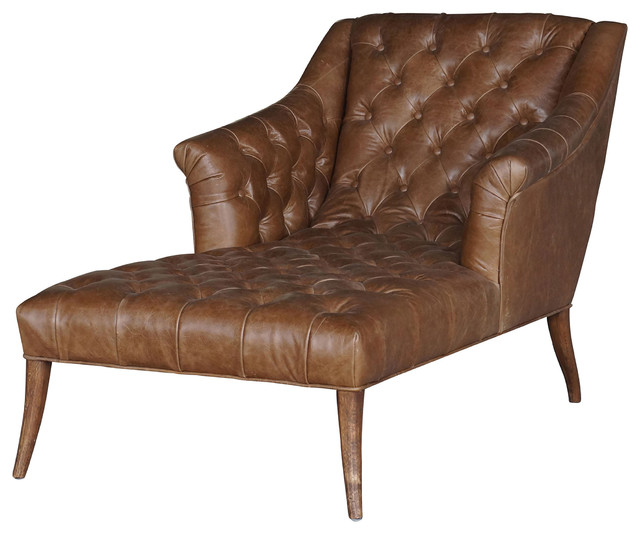 Roald Rustic Lodge Brown Leather Tufted Armchair Chaise