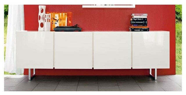 Seattle 4 Door Sideboard With 2 Glass Shelves Contemporary - Calligaris-seattle-storage-cupboard-with-four-doors