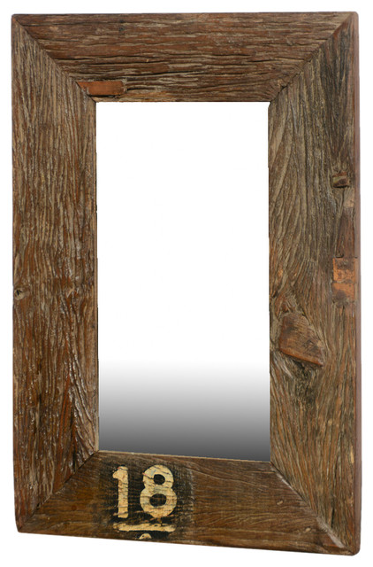 Forever 18 Rustic Wide Framed Reclaimed Wood Wall Mirror rustic-wall-mirrors - Forever 18 Rustic Wide Framed Reclaimed Wood Wall Mirror - Rustic