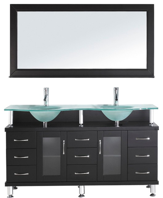 Vincente Rocco, Base: Espresso, Top: Frosted Tempered Glass, Faucet: Polished Ch by Avant Styles LLC