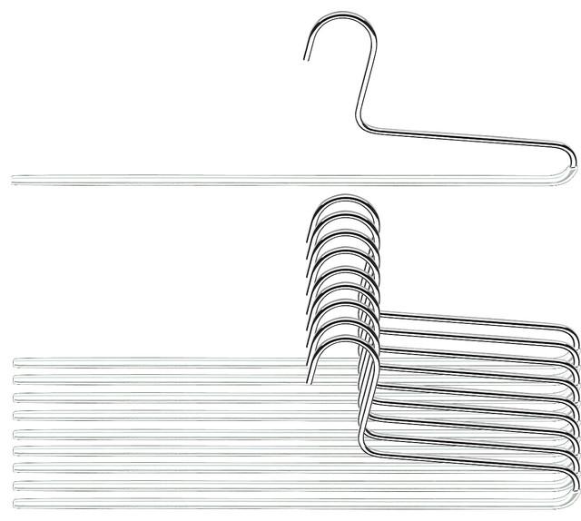 Trouser Hangers, Single Rod, Set Of 10, White.