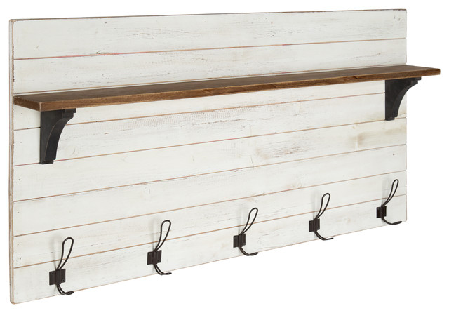Kate And Laurel Jeran Wood Wall Shelf With 5 Hooks White Farmhouse Wall Hooks By Uniek Inc