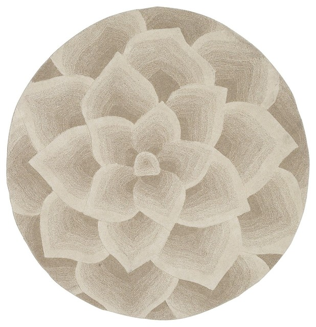 Rose tufted round rug ivory contemporary rugs other for Modern round area rugs