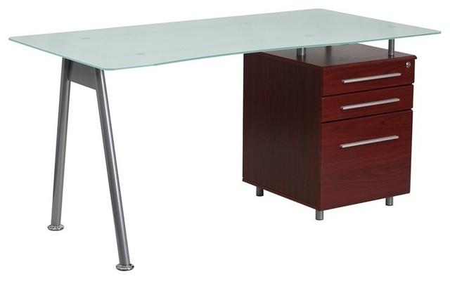 flash furniture 3drawer glass top home office desk mahogany desks