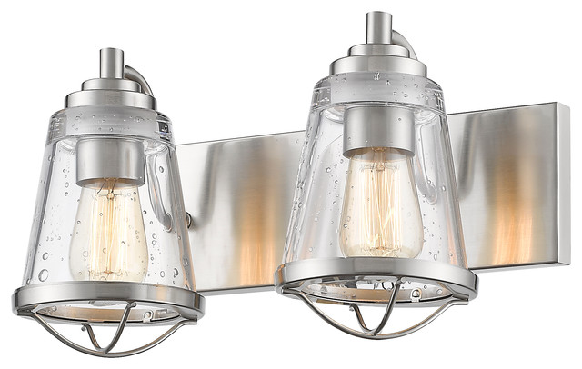 2 Light Vanity, Clear Seedy - Beach Style - Bathroom Vanity Lighting - by Z-LIte
