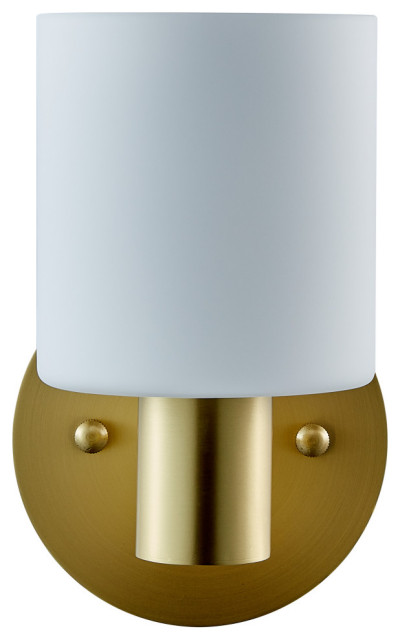 Plumas Single sconce, Brushed Brass with Matte Frosted Glass