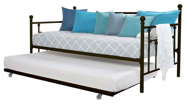 metal daybed with pull out trundle bed bronze finish twin daybeds by hearts attic. Black Bedroom Furniture Sets. Home Design Ideas