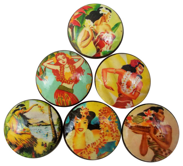 6 Piece Set Hula Girl Cabinet Knobs - Tropical - Cabinet And ...