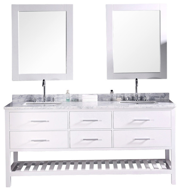 "London 72"" Double Sink Vanity Set, White."
