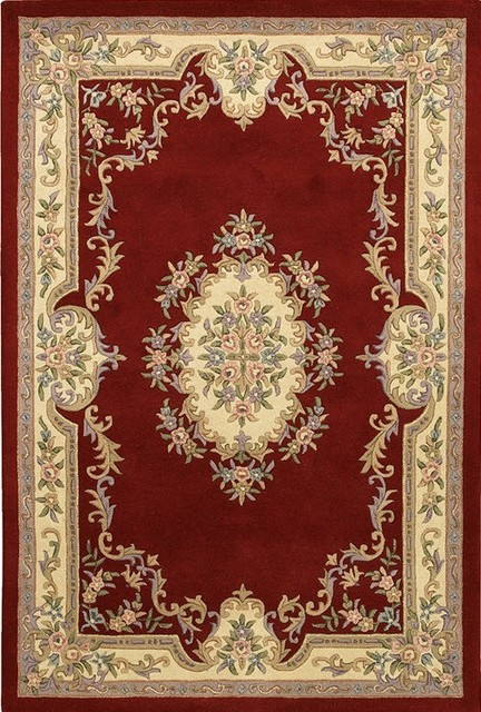Chandra rugs red and gold hand tufted traditional for Red and gold area rugs