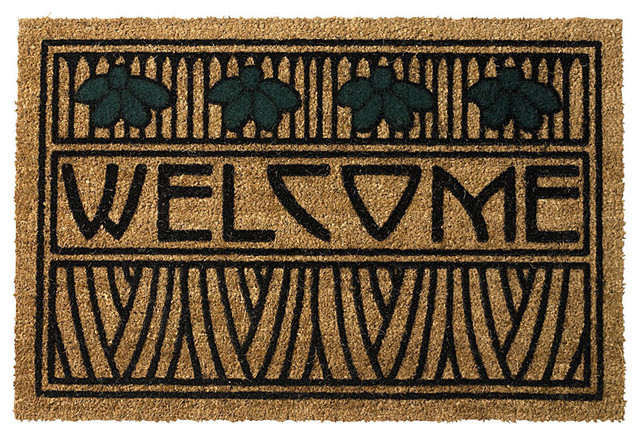 Arts And Crafts Dard Hunter Design Iris Motif 29 X 19 Doormat.
