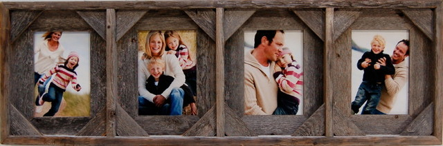 Collage Picture Frames With 4 Openings Barn Wood With Cornerblocks