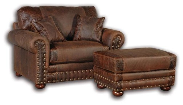 Western Rustic Leather Arm Chair Southwestern Armchairs And Accent Chairs