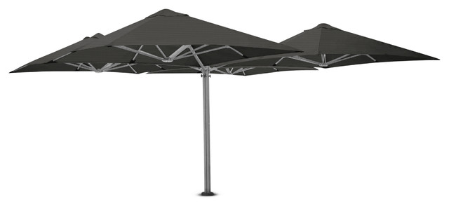 8&x27;2 Square Quattro Charcoal Tweed Umbrella, Ground Anchor And Led Lights.