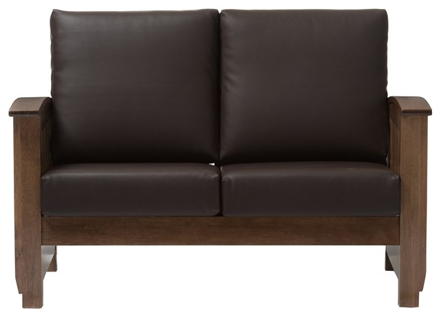 Brilliant Charlotte Mission Walnut Brown Wood Dark Brown Faux Leather 2 Seater Loveseat Caraccident5 Cool Chair Designs And Ideas Caraccident5Info
