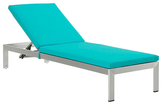 Shore outdoor patio aluminum chaise with cushions silver for Chaise longue bleu turquoise