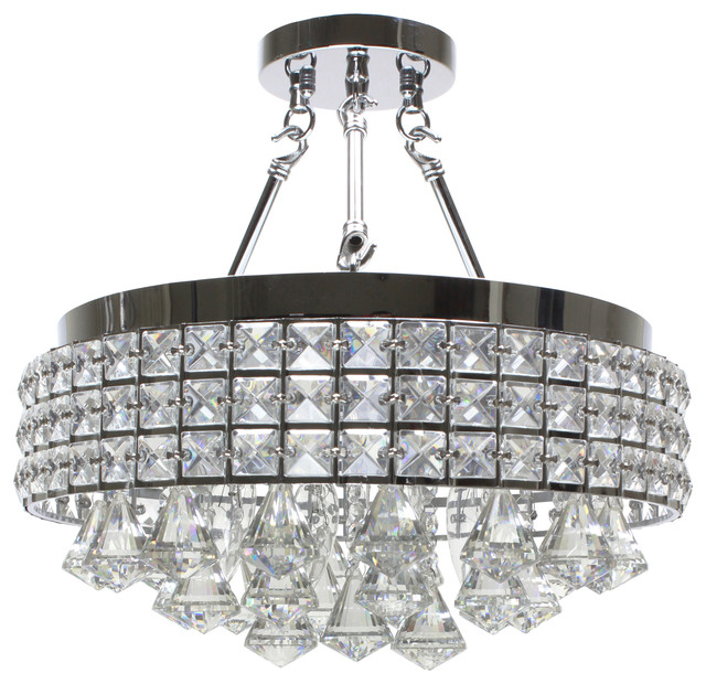 drum round shade chrome  light crystal semi flush mount, Lighting ideas