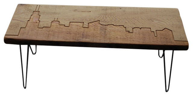 Chicago Reclaimed Wood Bench Contemporary Accent And Storage - Reclaimed wood coffee table chicago