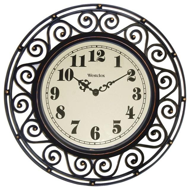 Westclox 32021 12 Round Filigree Rubbed Bronze Finish Clock