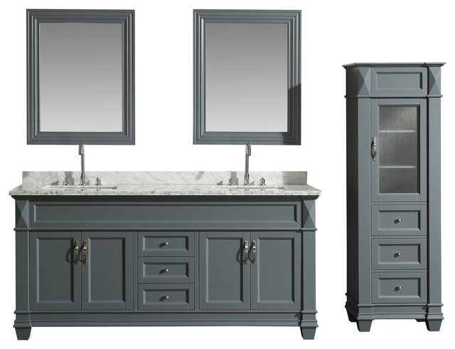Hudson 72 double sink vanity set with marble top and - Bathroom vanity linen cabinet sets ...