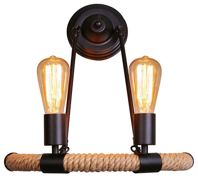 Farmhouse Style Wall Sconces : 2 Lights Vintage Industrial and Farmhouse Style Manila Rope Wall Sconce - Industrial - Wall ...