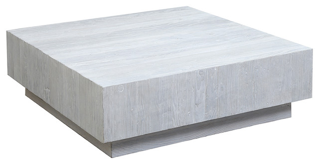 Furniture White Elm Block Coffee Table