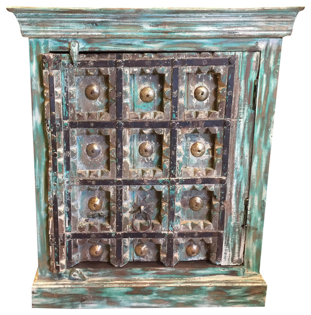 Consigned Antique Turquoise Distressed Rustic Chest Patina Tv Console Cabinet