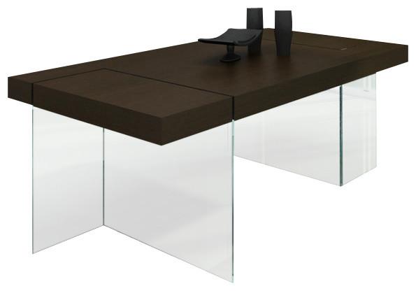 Aura Modern Floating Tobacco Dining Table Modern