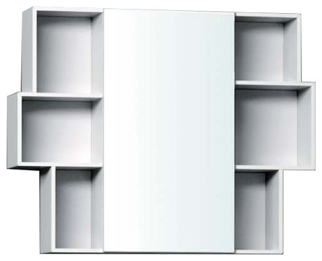 Isa Bagno Madia Mirrored Bookshelf Style Cabinet With LED Lighting Small