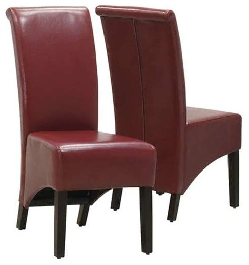 """Monarch Specialties Burgundy Leather-Look 40""""H Parson"""