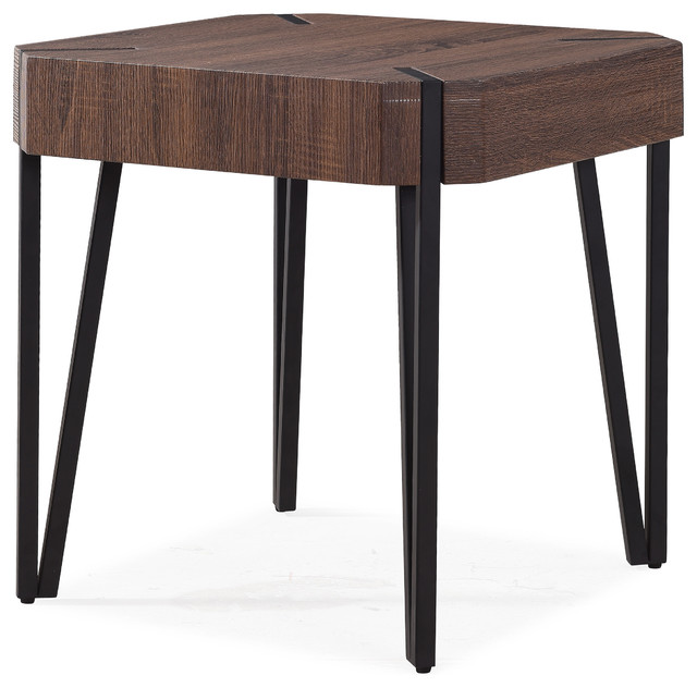 Dani Dark Brown Oak Square End Table With Black Metal Legs