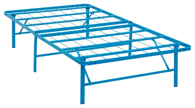 Modern Contemporary Urban Design Twin Size Platform Bed Frame, Blue, Metal Steel.