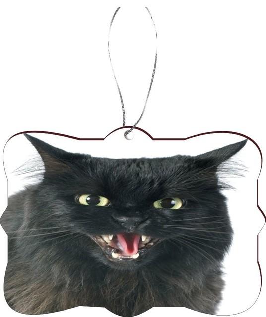 furious black cat angry cat masonite flat christmas tree ornament - Black Cat Christmas Ornament