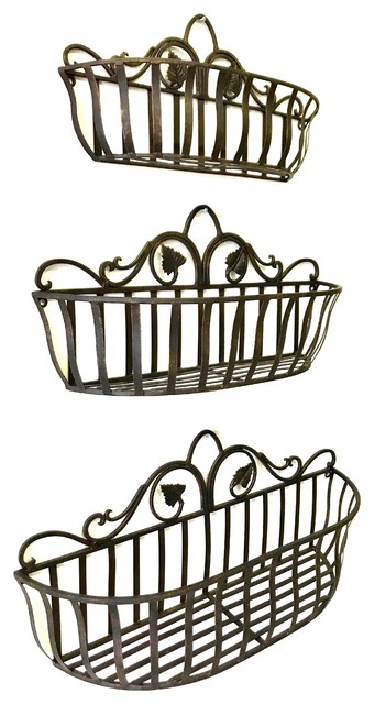 Tuscan Wrought Iron Hand Forged Wall Planter Baskets Set Of 3